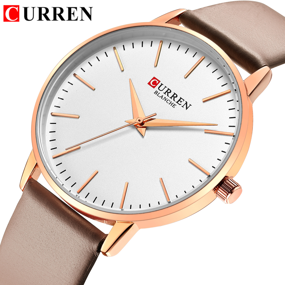 CURREN Fashion Simple Womens Watches Dress Quartz Leather Wristwatch For Ladies Life Waterproof Clock Female Bayan Kol Saati