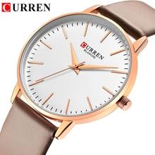 CURREN moda proste damskie zegarki sukienka kwarcowy zegarek z paskiem skórzanym dla pań życie wodoodporny zegar kobiet bajan kol saati