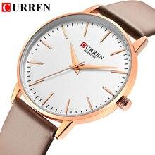 CURREN relojes sencillos a la moda para mujer, reloj de pulsera de cuero de cuarzo, resistente al agua, bayan kol saati