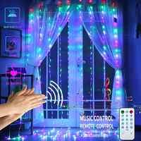 LED fenêtre rideau chaîne lumières 3X3M musique contrôle sonore 300 LED étanche lumières scintillantes USB décor lumières pour fête de mariage