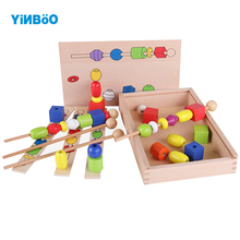 Wooden Toys Montessori Bead Sequencing Set Building Block Toy Classic Educational Board Game for Children Toy