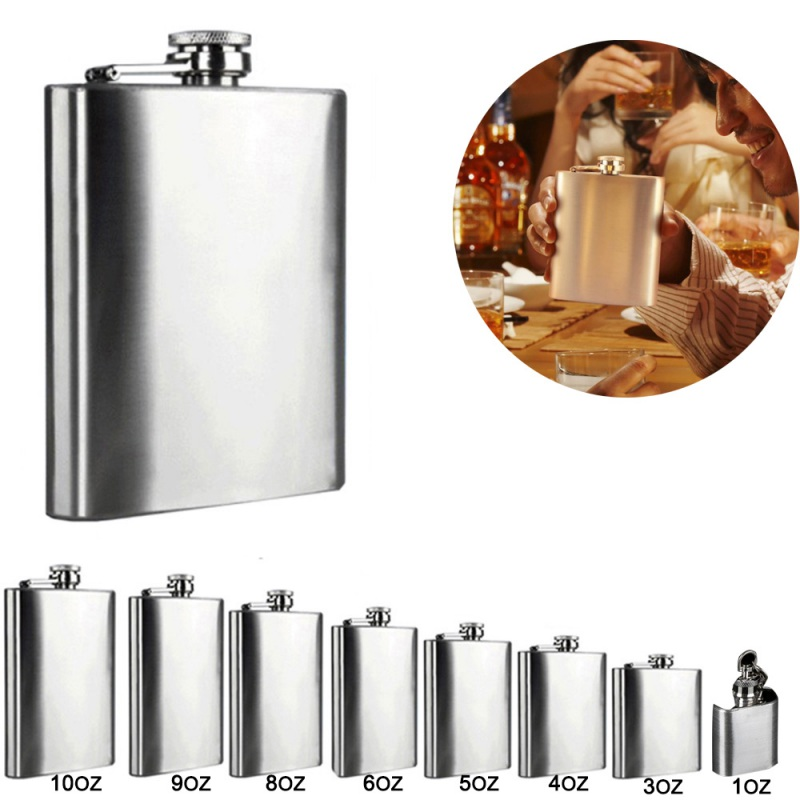 1 3 4 5 6 8 9 10 OZ Stainless Steel Hip Flask with Funnel Liquor Whisky Outdoor Portable Pocket Flasks Alcohol Bottle