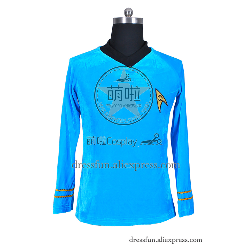 Star Trek TOS The Original Series Cosplay Spock Costume Blue Velour Shirt Uniform Suit Halloween Fashion Party Fast Shipping