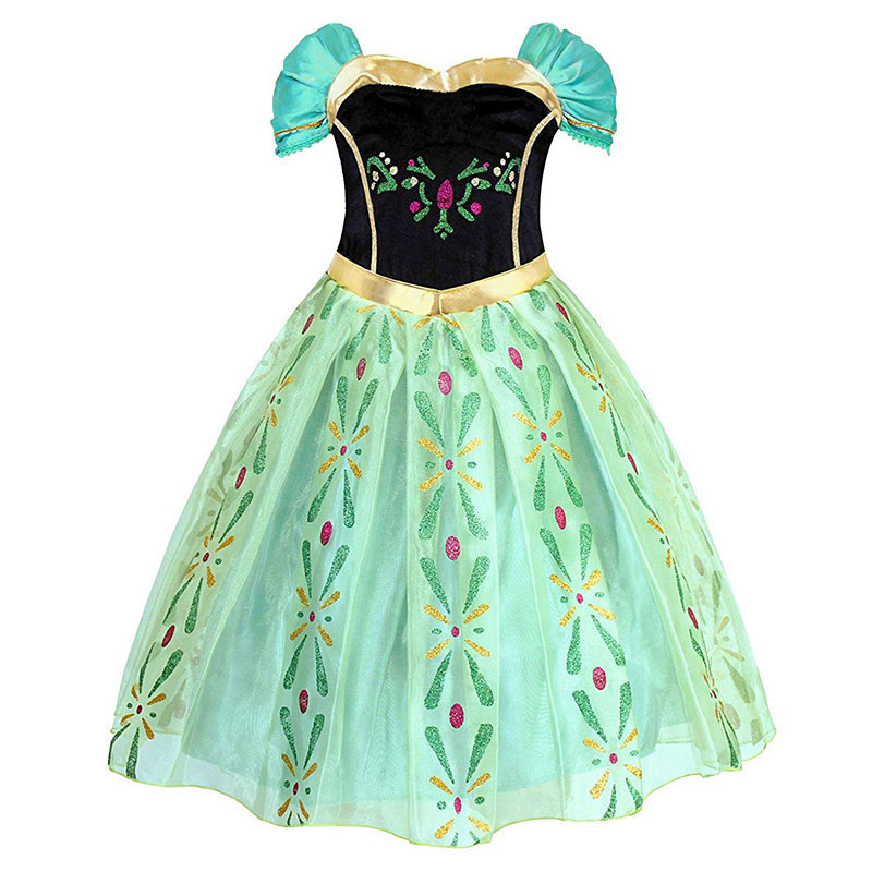 Girls Anna Princess Dress Kids Summer Costume With Embroidery Snow Queen Children Party Ball Gwon For Halloween Cosplay Dress