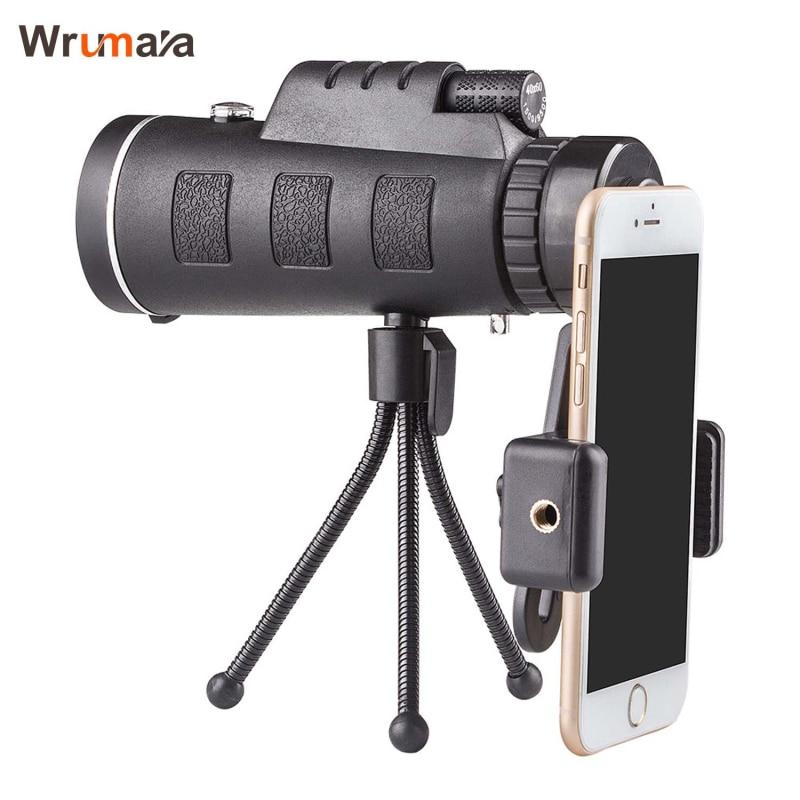 40x60 HD zoom óptico Ampliación de alta potencia monocular telescopio con teléfono soporte y trípode para todo el teléfono