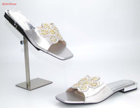Italian Beautiful Sandals Shoes African Women Love Most Shoes For Wedding And Party Silver Color Size37