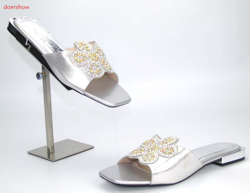 doershow Italian Beautiful sandals Shoes African women love most Shoes For wedding and party silver color size37-41!FA1-8 doershow women slipper elegant african women sandals shoe for party african wedding low heels slip on women pumps shoes abs1 5