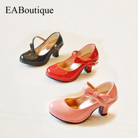 Kids Unique Summer Fashion High Quality Princess With Bowtie Design High Heels Girls Shoes For 3