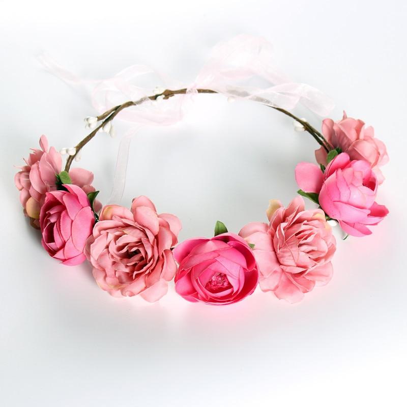 Boho Bloemen Hoofdband Meisjes Bloem Kroon Krans Bruiloft Bruids Haaraccessoires Rose Bloemen Hoofdband Haren Mode Decoratie Betrouwbare Prestaties