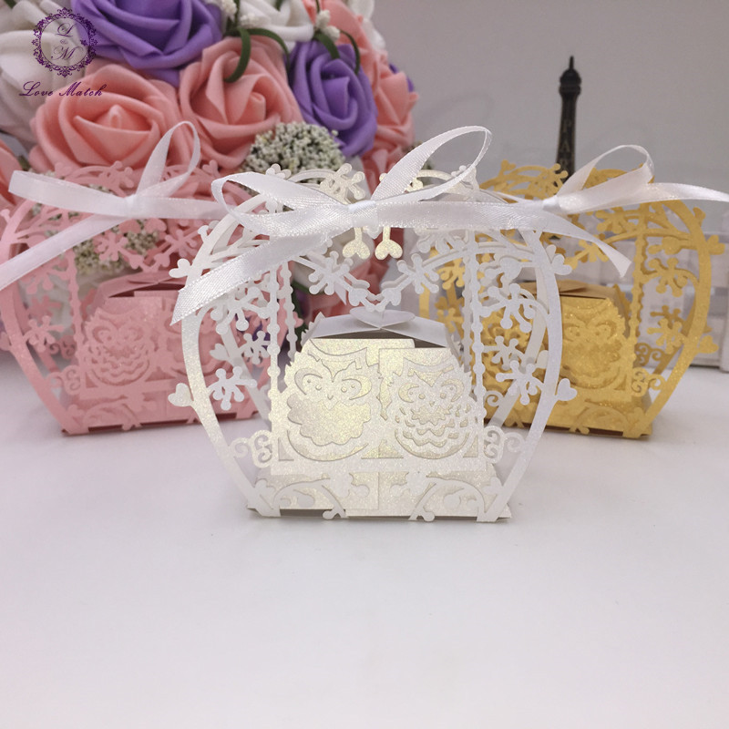 Hot Sale 50pcs Wedding Favors And Gifts Double Owl Laser Cut Candy