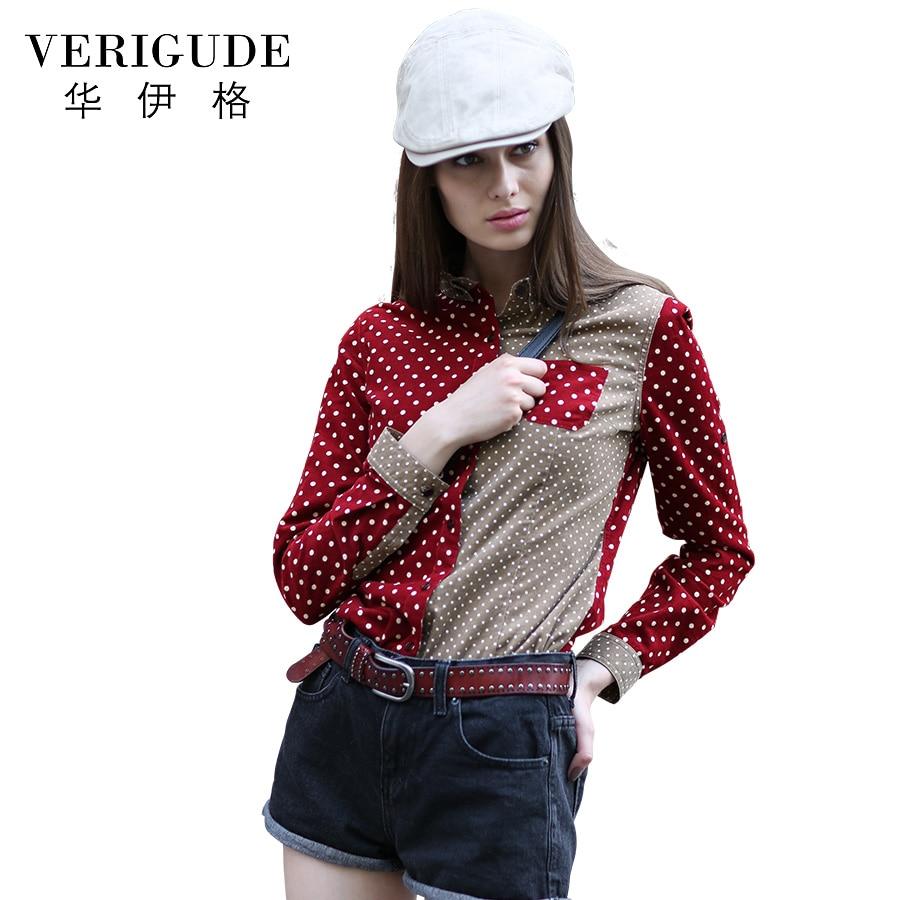 Veri Gude Polka Dot Blouse Women Button-down Corduroy Shirt Contrast Color