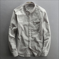 Vintage Cotton And Linen Man Shirt Autumn Spring Summer Long Sleeve Shirts Stand Collar Male Casual Chinese Style Shirts Wt1001