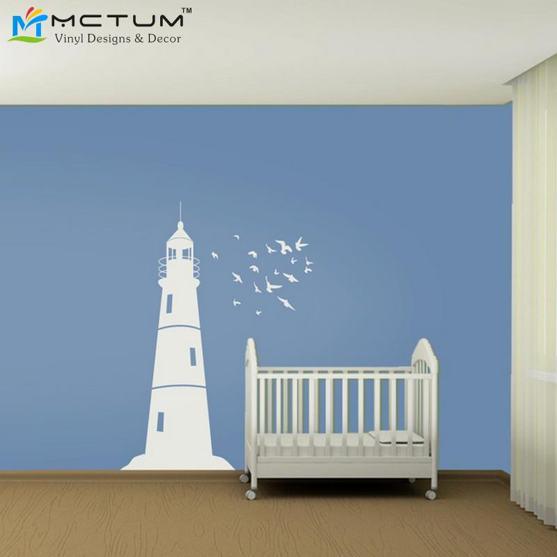 Online get cheap lighthouse wall decor for Cheap wall mural decals