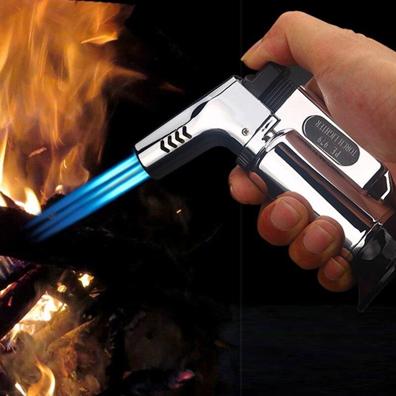 Allume-cigare pour barbecue en plein air torche Turbo briquet Jet gaz Butane Cigarette 1300 C pistolet de pulvérisation coupe-vent en métal allume-cigare pour cuisine