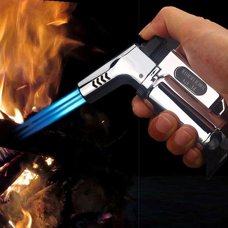 Outdoor BBQ Lighter Cigar Torch Turbo Lighter Jet Butane Gas Cigarette 1300 C Spray Gun Windproof Metal Pipe Lighter For Kitchen|Matches| - AliExpress