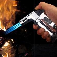 Наружная Зажигалка для барбекю зажигалка для сигар турбо Зажигалка струйные бутановые зажигалки сигарета 1300 C пистолет-распылитель ветрозащитный металлический бумажный жгут для зажигания трубки для кухни