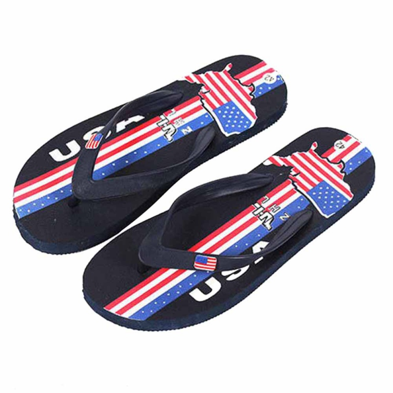2018 Hot-sell Flag Painted Bathroom Beach New Balance Men Flip Flop Chinelo Beach Sandals Men Flat With Rubber Pantufa Unicornio