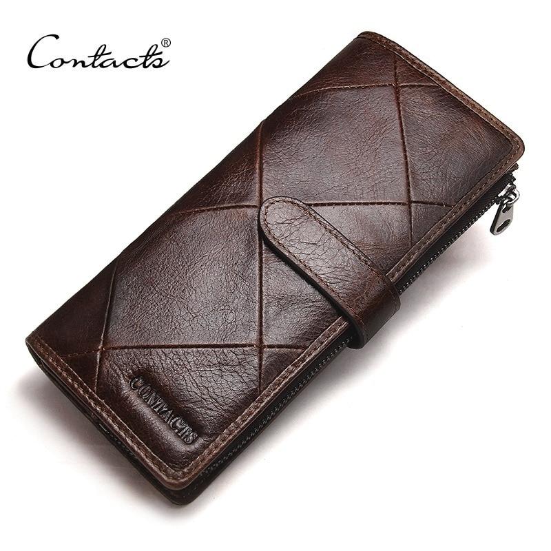 Contact's nova moda masculina carteira de couro genuíno longo para o sexo masculino bolsas de marca de luxo e carteiras de embreagem feminina com bolsos de moedas
