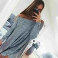 2016 Autumn Dress Tunic Long Sleeve Strapless Dress Women Sexy Slash Neck Grey Off Shoulder Loose Casual Party Dresses Vestidos