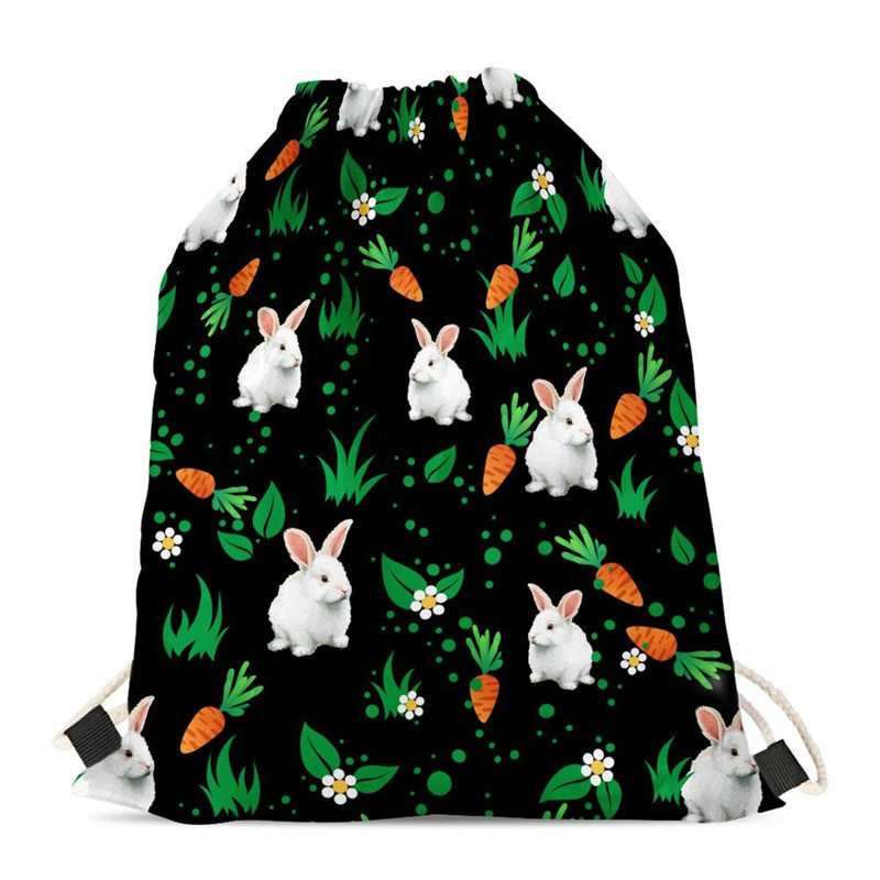 THIKIN Floral Rabbit Print Drawstring Bag Girls Backpack Polyester Travel Beach Gym Shoes Sports Pack Shopping Shoulder Backpack