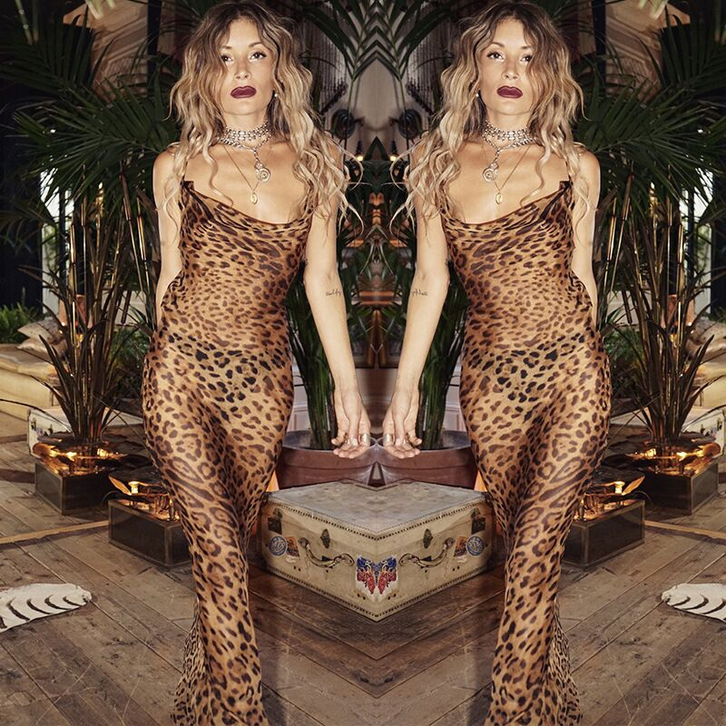 NiceMix Women Sexy Floor-Length Party Dress Ladies Summer Spaghetti Strap Leopard See Through Club High Split Slim Dr