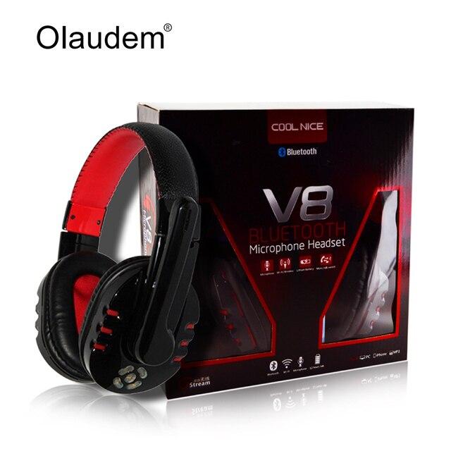 Bluetooth Headset Wireless Headphone Stereo Earphone Studio Head Phone Handsfree Microphone For iPhone 5S Computer PC MP3 V8