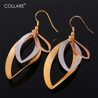 Statement Fashion Big Earrings For Women 2015 New 3 Tone Gold Plated Platinum Rose Gold Earrings