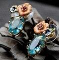 2014 nueva moda de lujo de la marca azul cristal flores goteo accesorios de la joyería