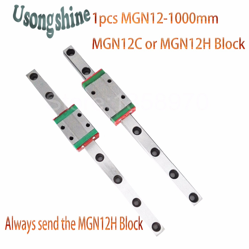 12mm for Linear Guide MGN12 1000mm L= 1000mm for linear rail way + MGN12C or MGN12H for Long linear carriage for CNC X Y Z Axis 12mm linear guide mgn12 l 250mm linear rail way mgn12h long linear carriage for cnc x y z axis