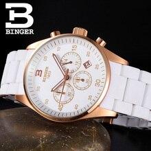 Швейцария часы мужские люксовый бренд БИНГЕР Кварц Мульти Дисплей Спорт силиконовые Наручные Часы Водонепроницаемость B1101-2