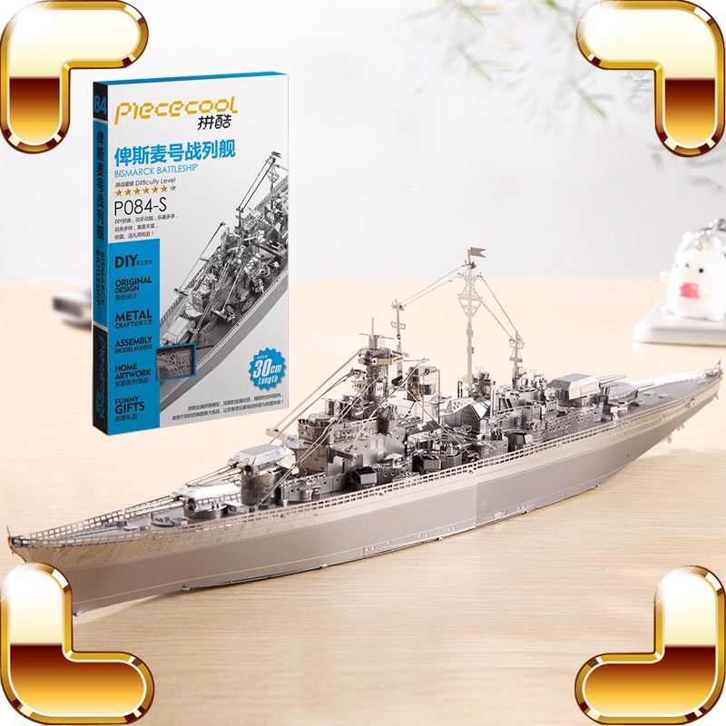 New Arrival Gift Bismarck Battleship 3D Model Metal Assemble DIY Game Toys Military Ship Collection IQ Educational Decoration new arrival gift kizhi church model metal collection diy assemble game toys for family children adult iq educational alloy item