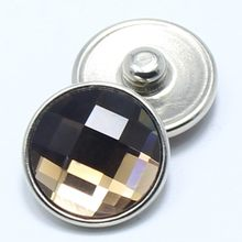 hot sale 18mm snaps charms jewelry brown faceted crystal snaps fit DIY snaps bracelets charms jewelry GS1111017(China)