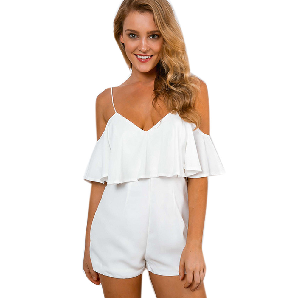 065377f0b967 Ruffles High Waist Sexy Women Jumpsuit Romper Summer One Piece Playsuit Off  Shoulder Short Overalls Macacao Feminino New-in Rompers from Women s  Clothing on ...