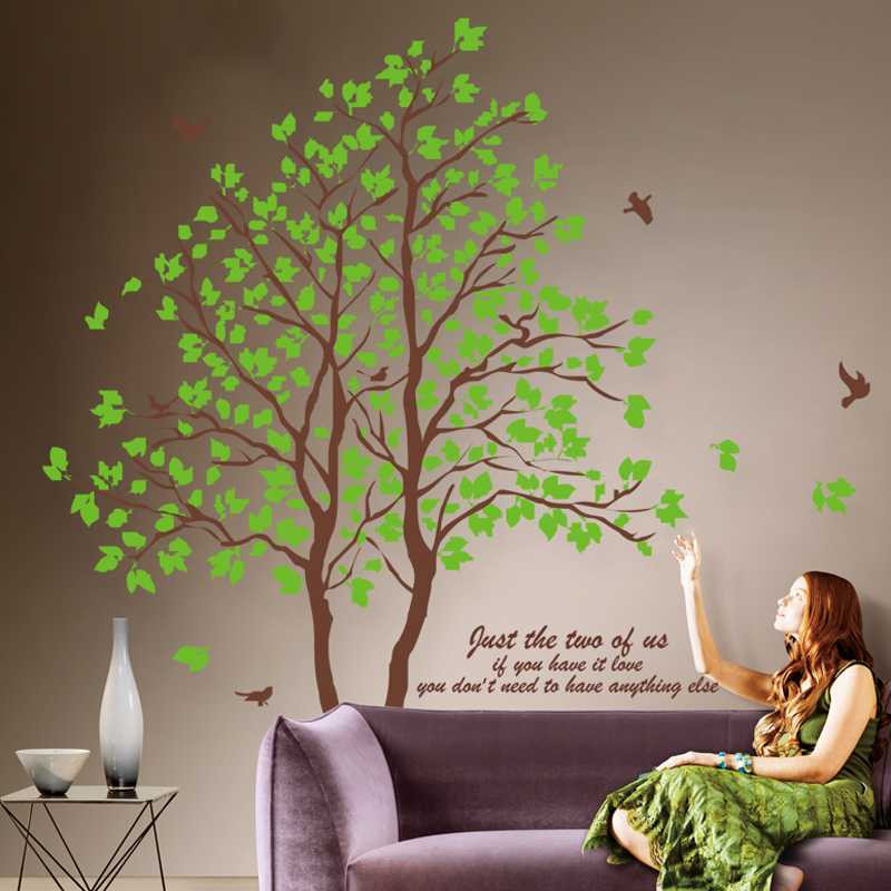 2Pieces 60CMX90CM DIY Large Green Tree Vinyl Wall Stickers Home Decor Living Room Bedroom Wallpaper Family Tree Wall Decal