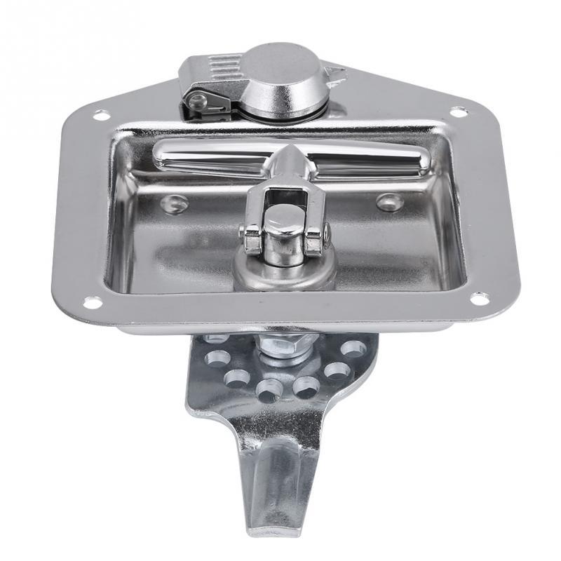 Stainless Steel Folding T Shape Handle Lock Tool Box W Keys Gasket Truck Trailer