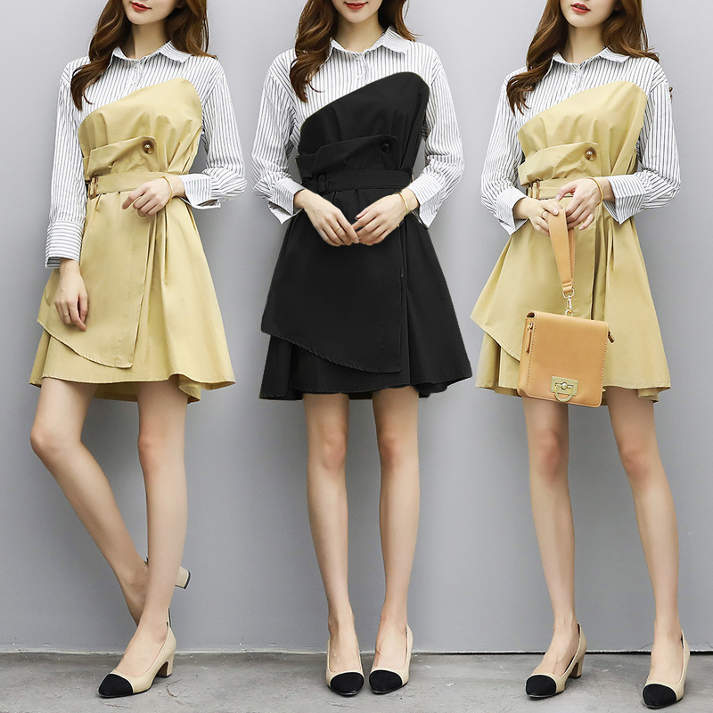 17 autumn women's factory direct wholesale agent polo collar stripe shirt dress color spell false two long sleeved dress