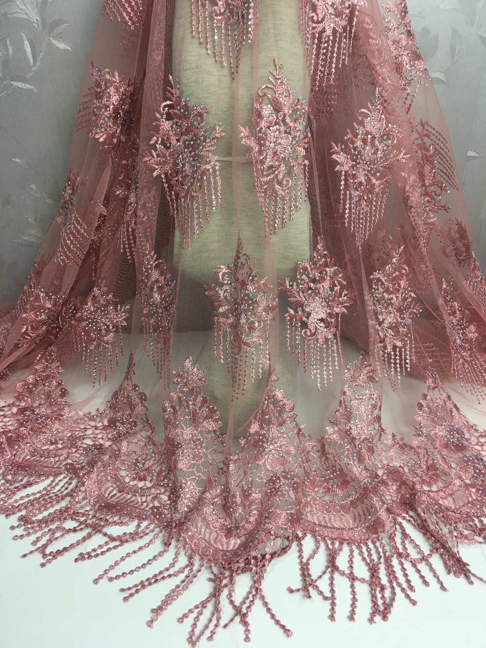 5yards lot french lace bridal embroidered tulle lace material Pink color nigerian african lace fabric for