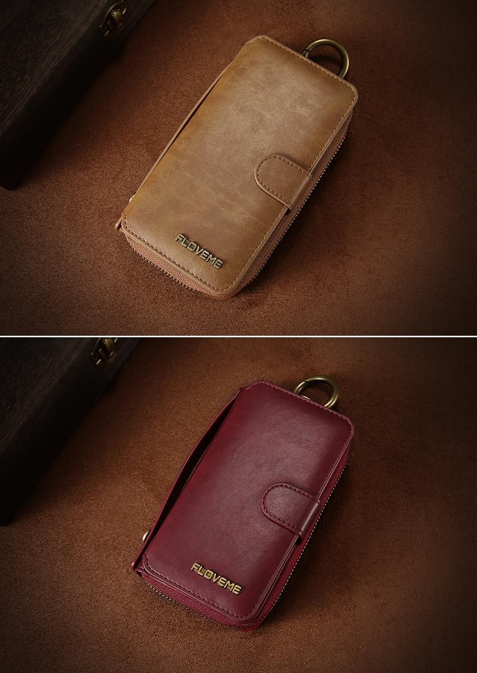 Floveme vintage leather wallet phone case for iphone 7 7 plus 6 6 s plus retro torebka slot kart pokrywa dla samsung s7 s8 coque 21