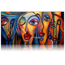 100% Hand painted Textur oil painting abstract Canvas painting Famous artist Picasso Guernica art picture decoration painting(China)