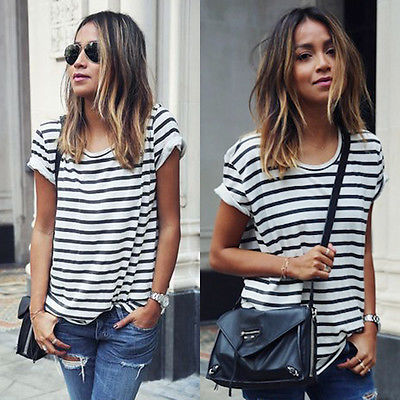 מקרית אופנה חדשה לנשים גבירותיי שרוול קצר רופפת קיץ פסים חולצת טריקו חולצות S XL