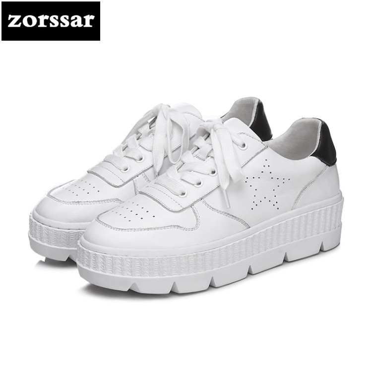 {Zorssar} 2018 Genuine cow Leather Flats Women Small White Shoes Ladies Casual shoes women sneakers shoes Student Sport Shoes msfair 2018 cow leather skateboarding shoes woman brand genuine leather women sport shoes rhinestone white sneakers for ladies