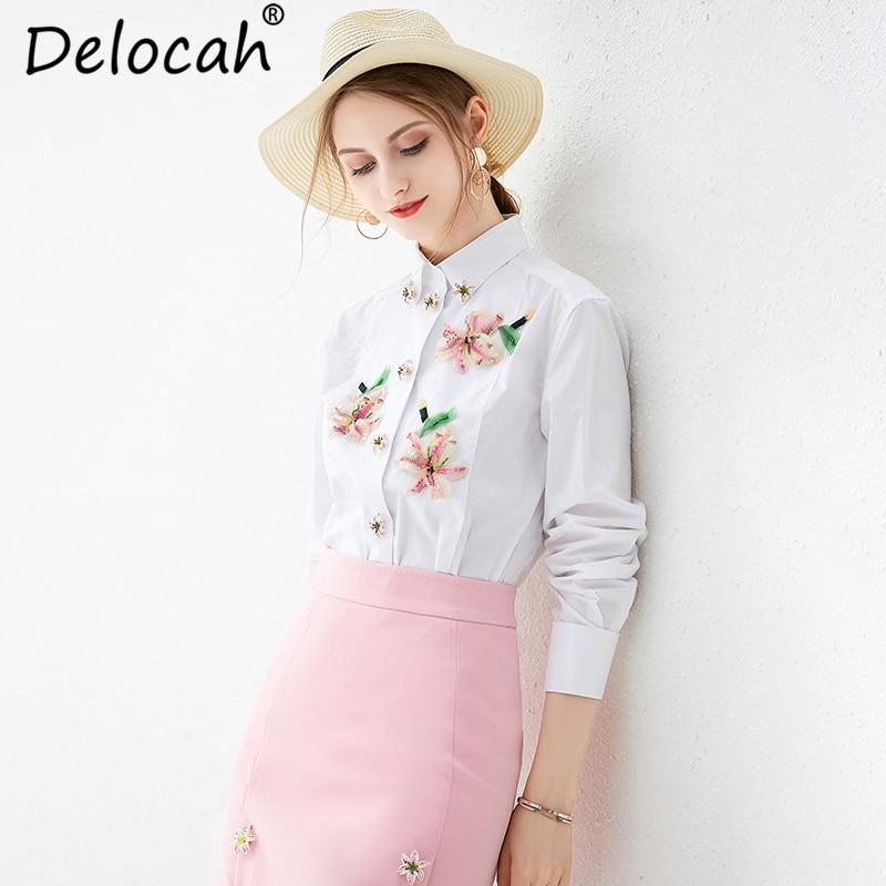 Delocah jesień kobiety koszula Runway moda z długim rękawem elegancki kwiatowy Print cekiny frezowanie biały bluzki na co dzień topy 2019 w Bluzki i koszule od Odzież damska na  Grupa 1