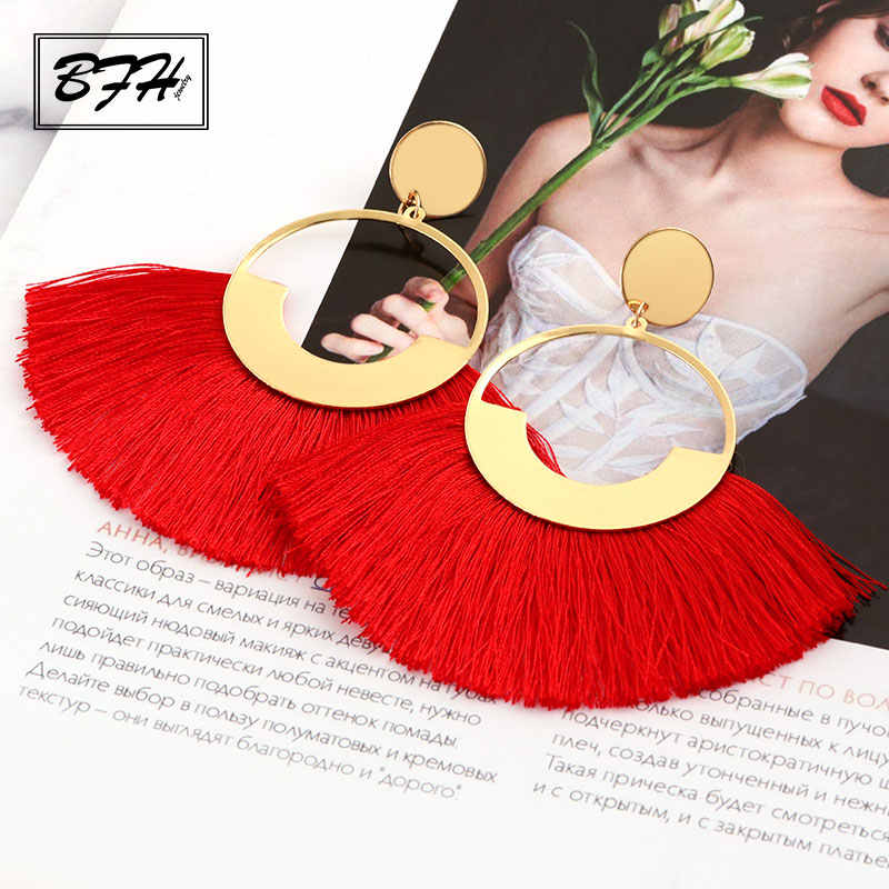 BFH Bohemian Big Tassel Drop Earrings For Women Lady Female Fringe Handmade Dangle Statement Fashion Woman Earring Jewelry