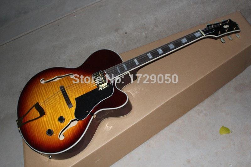 2017 china factory custom Top Quality New Custom Tiger maple Sunburst Semi Hollow L-5 Jazz electric guitar Free Shipping 51