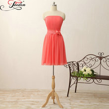 JAEDEN Sleeveless Lace up Back Sashes Bow Chiffon A Line Party Dresses 2017 E377 Strapless Knee Length Bridesmaid Dresses