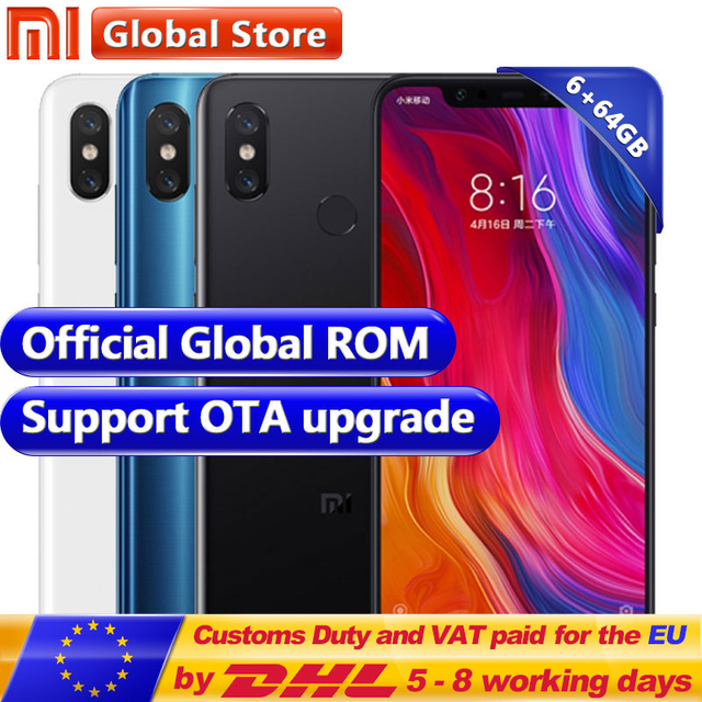 "New Original Xiaomi MI 8 6GB RAM 64GB ROM Snapdragon S845 Octa Core Mobile Phone 3400mAh Dual 12.0MP+20.0MP 6.21"" 2248*1080 FHD+"