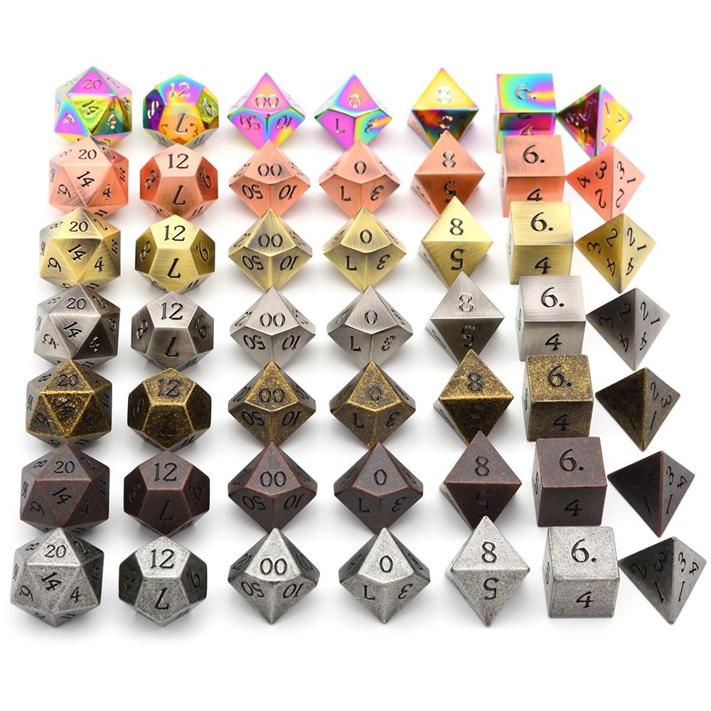 Liga de zinco Metal Dice Dados Poliédricos 7PCS D20 D12 D10 D8 D6 D4 para Dungeons And Dragons DND RPG jogos de Mesa MTG