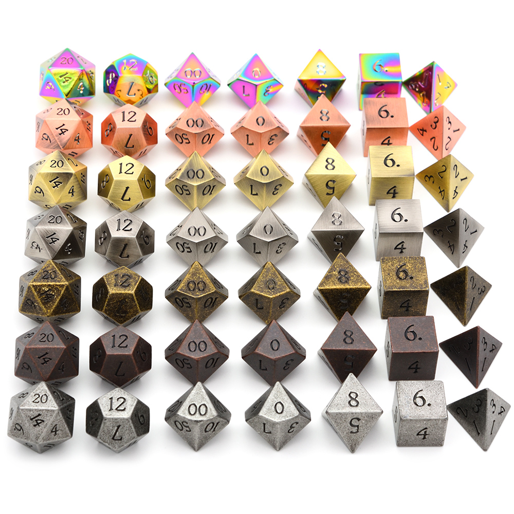 Zinc Alloy Metal Dice Polyhedral Dice 7PCS D20 D12 D10 D8 D6 D4 For Dungeons And Dragons DND RPG MTG Table Games