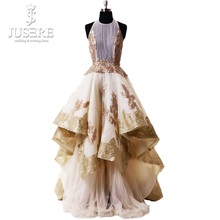 Luxury Ruffle Evening Dress Appliques High/low Evening Gown Pleat Round Neckline Golden Formal Prom Dress Robe De Soiree Longue dress free shipping 2013 open leg custom size color sexy evening formal prom gown sweet beauty pageant ruffle dress new high low