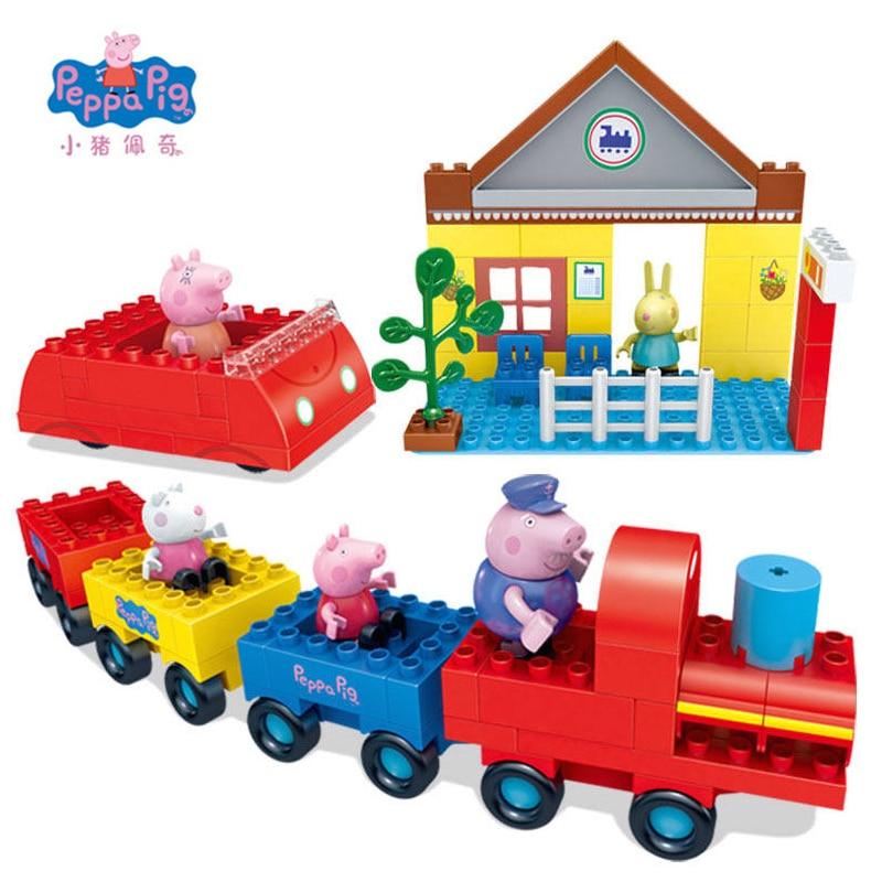 Peppa Pig Jouets Poupée Train Voiture Maison Scène Blocs de Construction Figurines Jouets Apprentissage Précoce Jouets Éducatifs Cadeau D'anniversaire